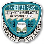 Aged Vintage 1992 Dated Car Show Exhibitor Pass Design Vinyl Car sticker decal  89x87mm